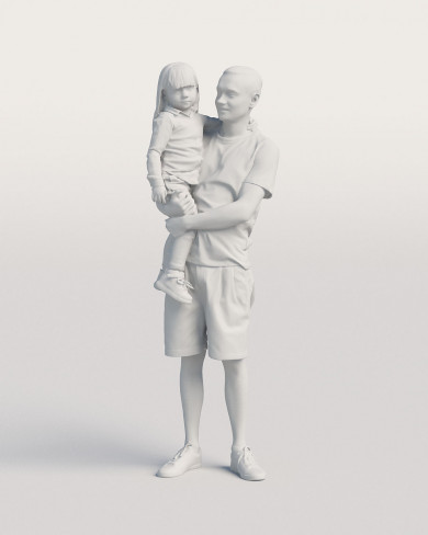 3D Casual people - Man with a kid