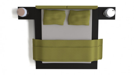 Set of Modloft Worth bed and FontanaArte Passion lamps