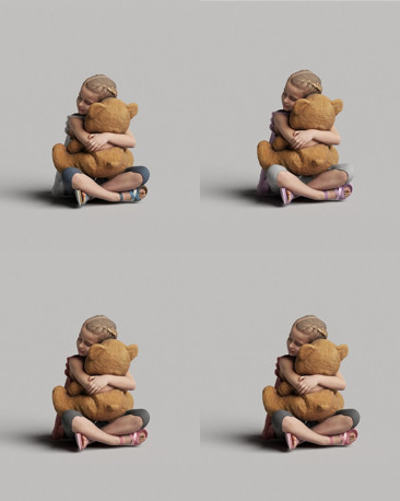 3D casual people - child with a teddy bear vol.05/03