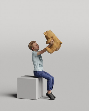 3D casual people - boy with a teddy bear vol.05/06