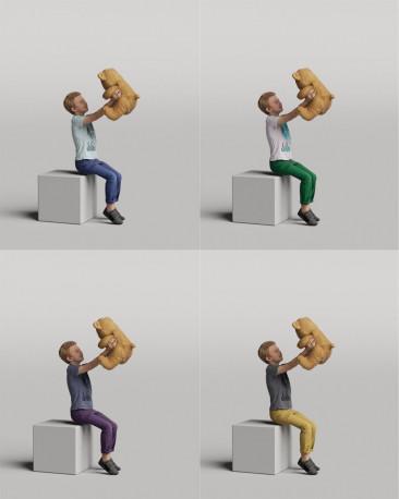 3D casual people - boy with a teddy bear vol.05/06
