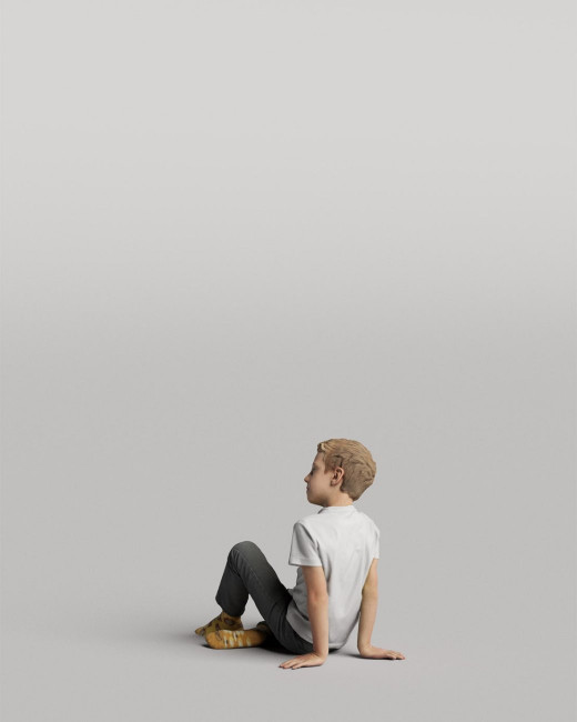 3D casual people - sitting boy vol.05/07