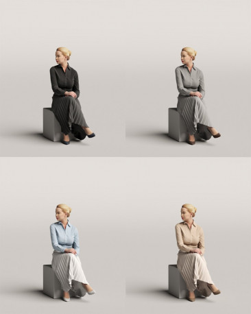 3D people - Sitting woman vol.06/14