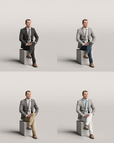 3D people - Sitting man vol.06/15
