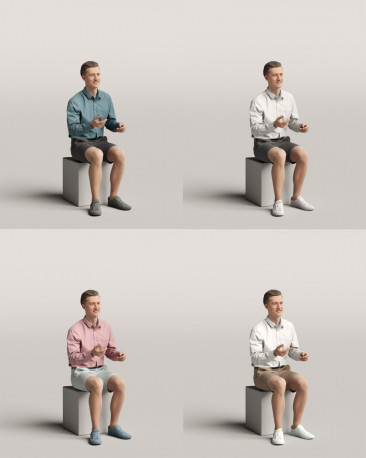 3D people - Sitting man vol.06/16