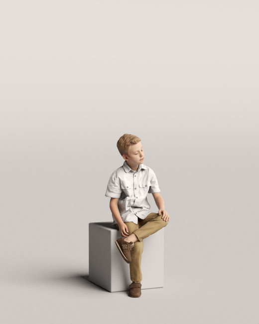 3D people - Sitting boy vol.06/08