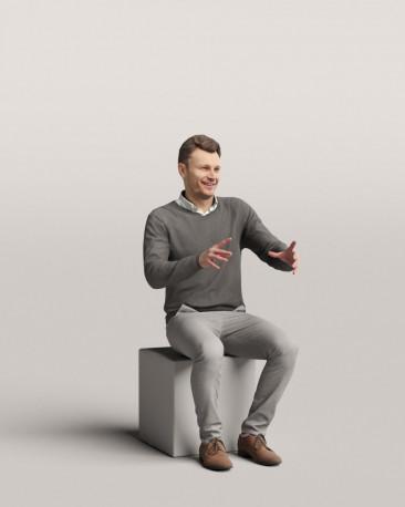 3D people - Sitting man vol.06/17