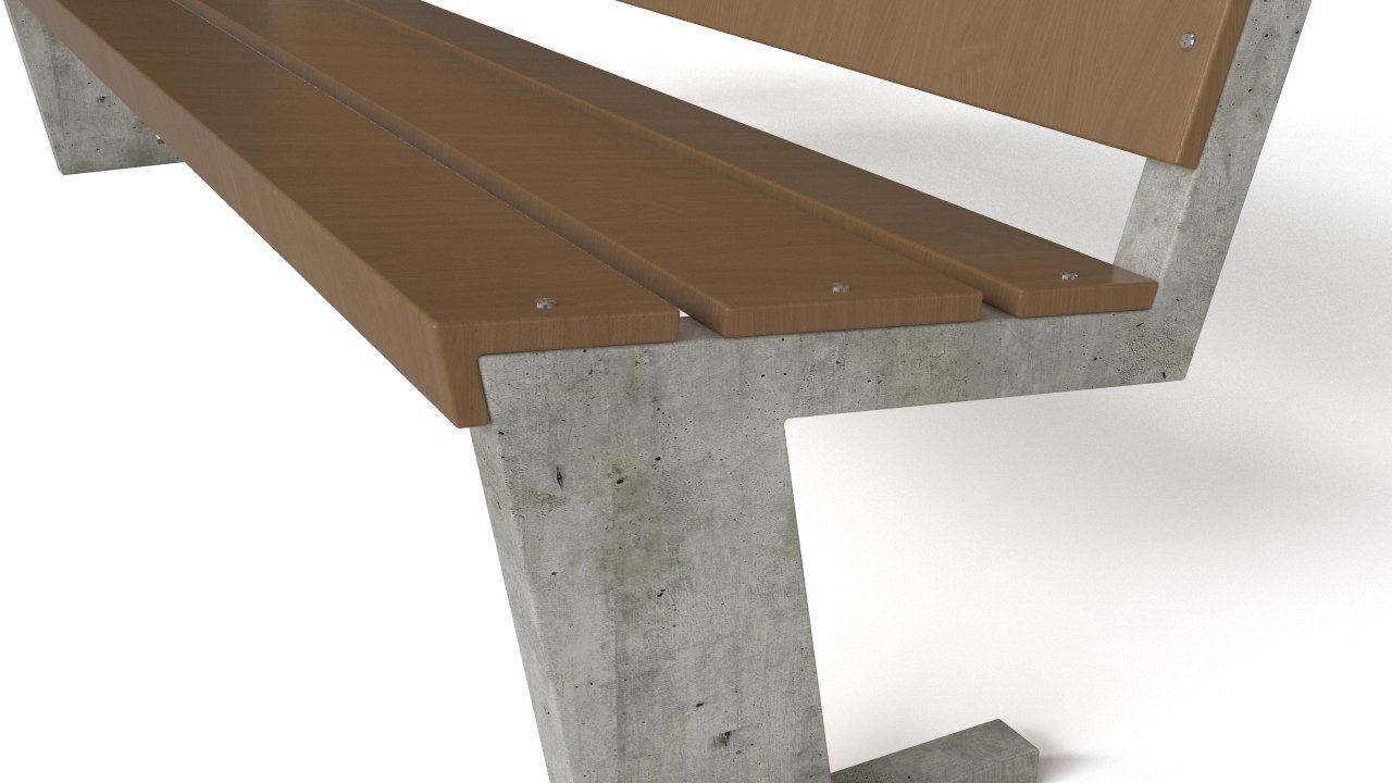 Wooden and concrete bench