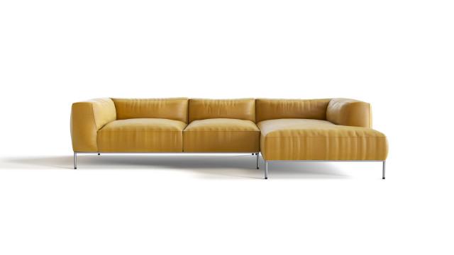 Yellow leather sofa