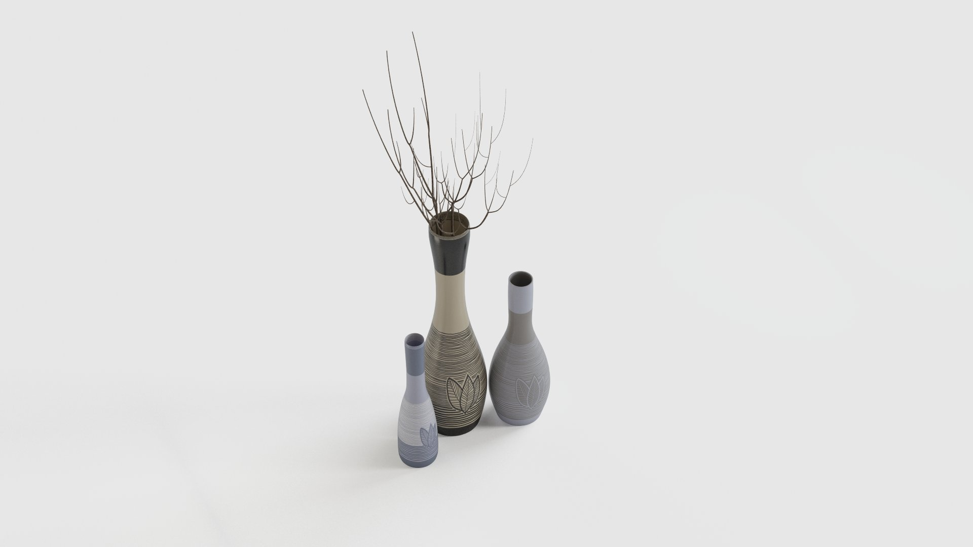 Vases with natural print
