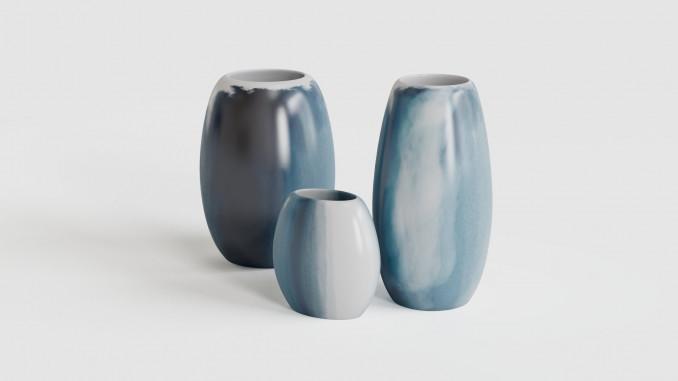 Vases with ocean print