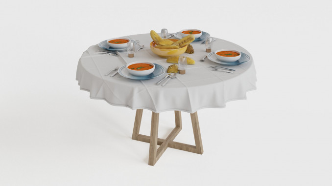 Dining table with food and equipment