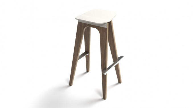 Plywood white stool