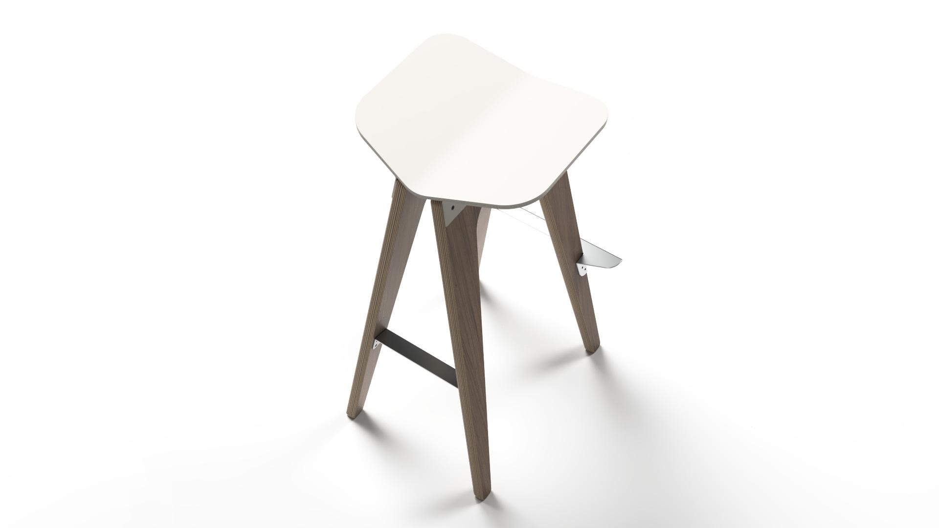 Plywood white stool