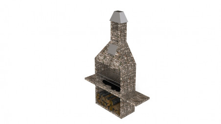 Exterior fireplace with grill